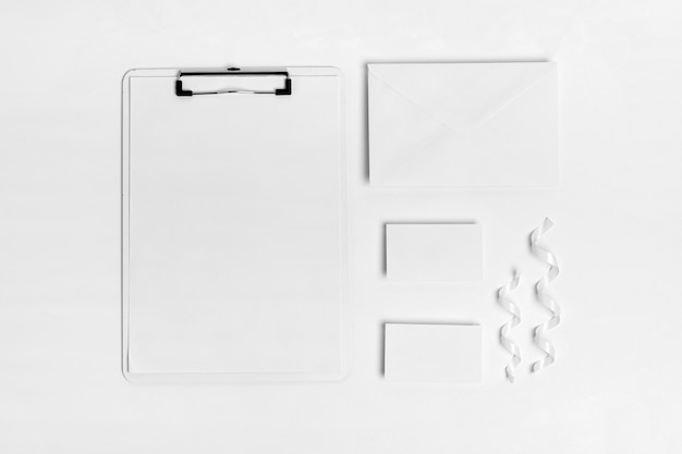 Flat lay clipboard on white background