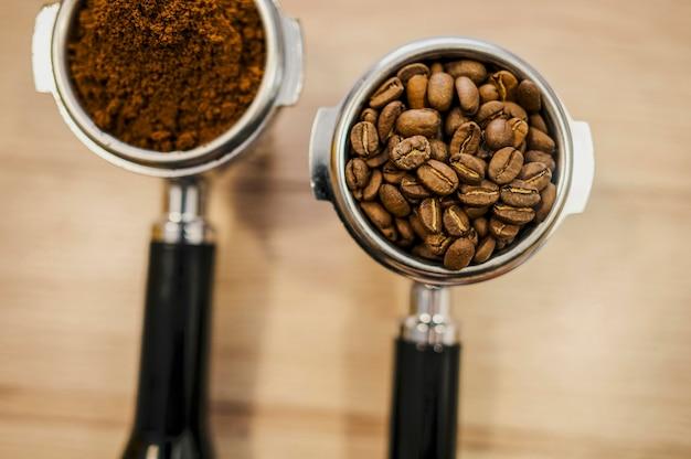 Flat lay of coffee machine cups