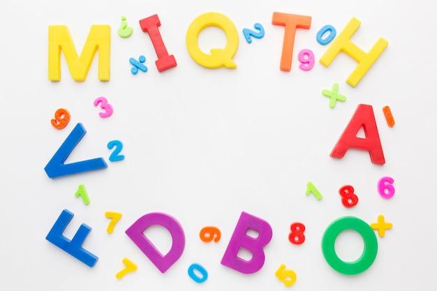 Flat lay of coloful alphabet frame