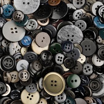 Flat lay of colored buttons