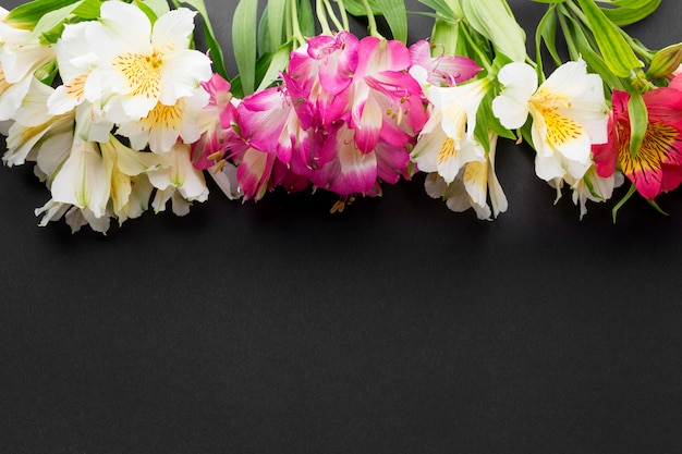Flat lay colorful alstroemeria bouquets with copy-space