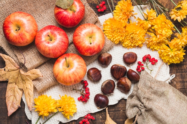 Flat lay colorful autumn composition