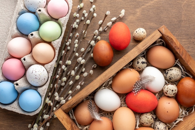 Flat lay of colorful eggs for easter in box and carton with flowers