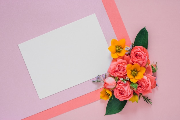 Flat lay colorful flowers composition on bright paper, clean blank