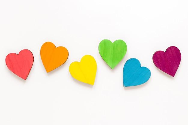 Flat lay colorful hearts