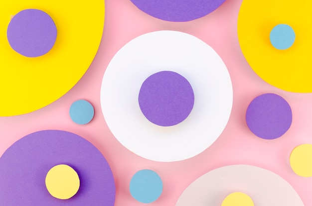 Flat lay of colorful paper circles