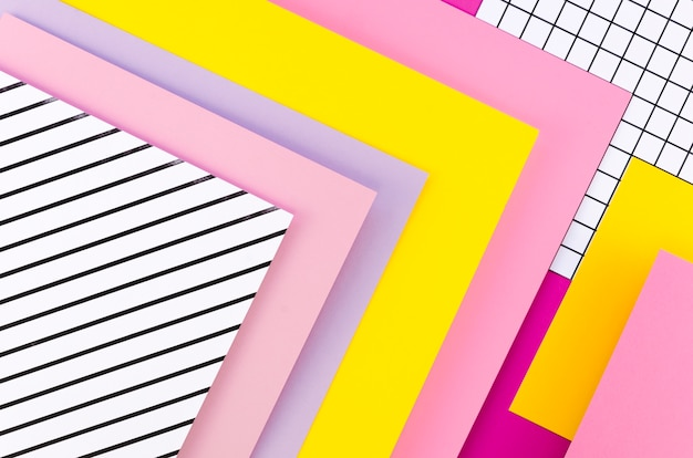Flat lay of colorful paper sheets geometry