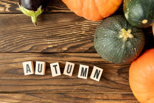 Flat lay colorful pumpkins with autumn lettering