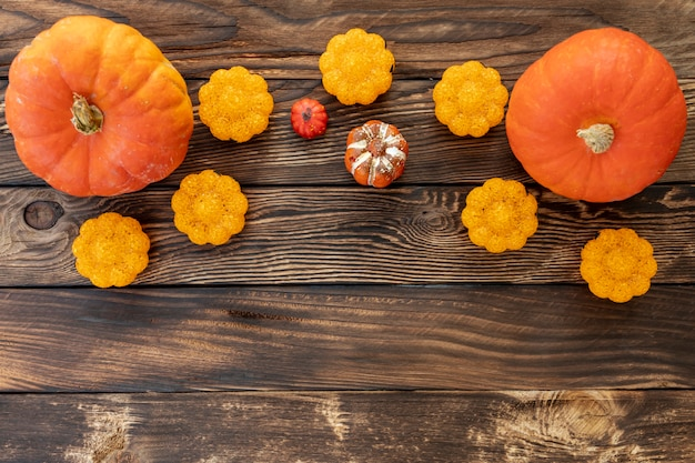 Flat lay colorful pumpkins on wooden background