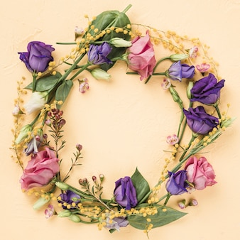 Flat lay colorful roses wreath