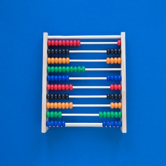 Flat lay colourful abacus for counting