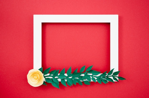 Flat lay colourful floral frame made out of paper