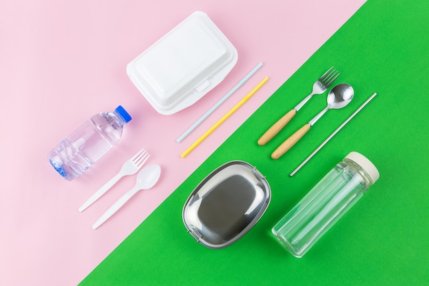 Flat lay comparison between disposable and reusable container on two colors