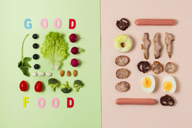 Flat lay comparison between vegetables and meat
