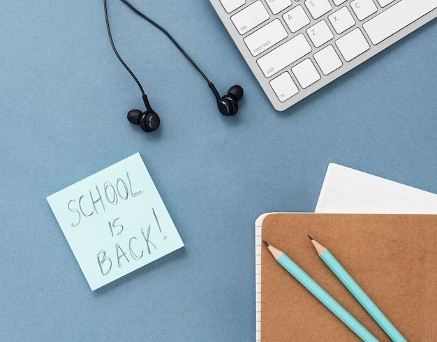 Flat lay composition of back to school still life elements