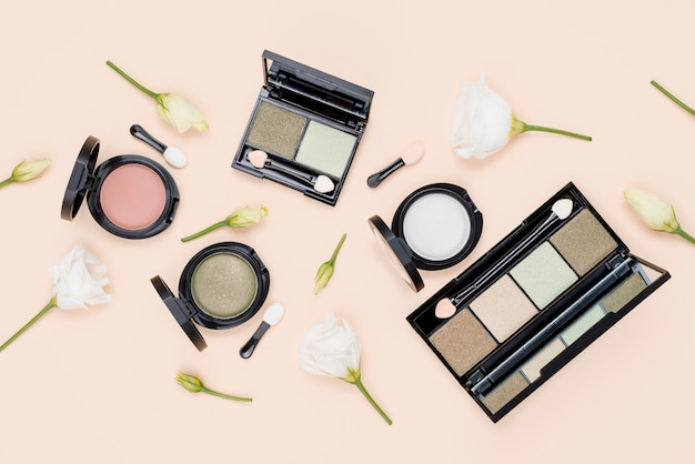Flat lay composition of beauty products