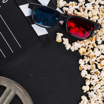 Flat lay composition of cinema objects