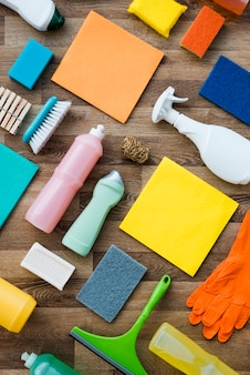 Flat lay composition of cleaning products