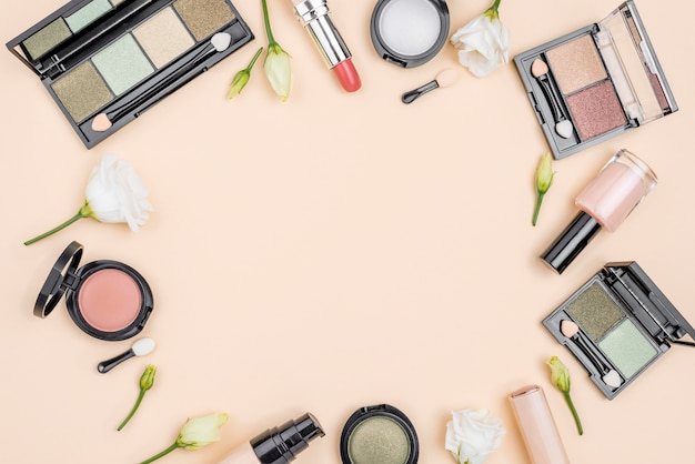 Flat lay composition of cosmetics with copy space