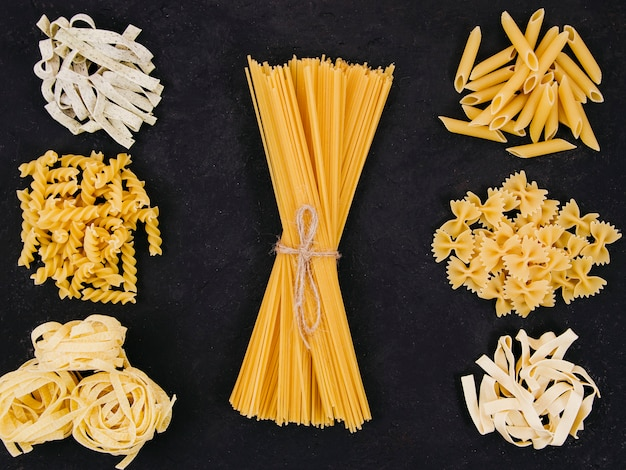 Flat lay composition of different types of pasta