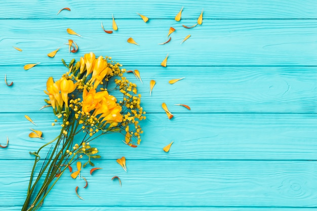 Flat lay composition of flowers with copyspace