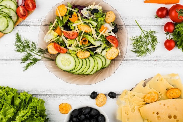 Flat lay composition of healthy vegetables