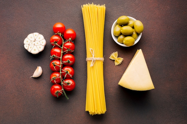 Flat lay composition of italian food