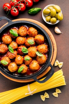 Flat lay composition of italian food