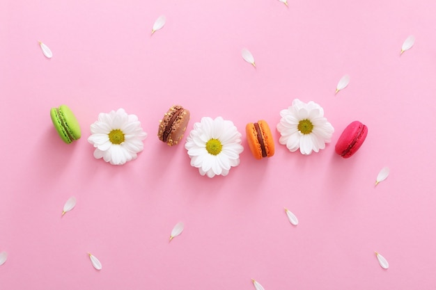 カラフルなフレンチマカロン、白い花と花びらのフラットレイ構成