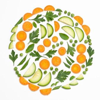 おいしい熟した農産物のフラットレイ組成物