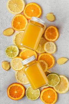 면역력 증진을위한 건강 식품의 편평한 구성