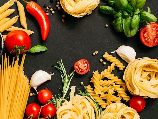 Flat lay composition of pasta