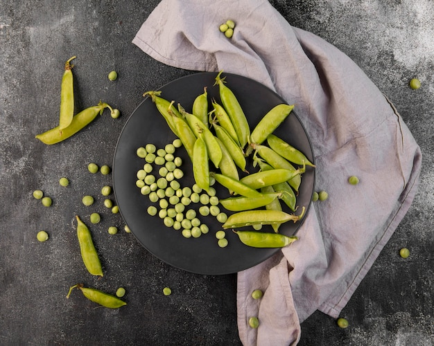 Flat lay composition of peas