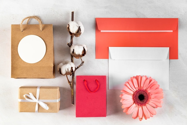 Flat lay composition of pretty mother's day elements