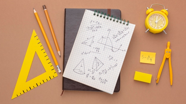 Flat lay composition of school supplies