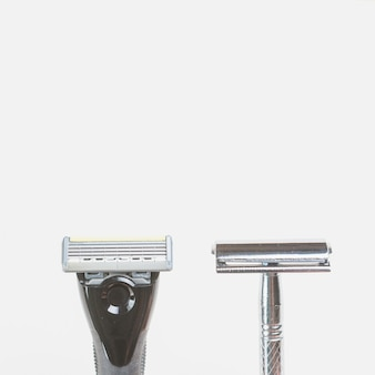Flat lay composition of shaving objects