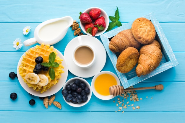 Flat lay composition of a tasty breakfast table