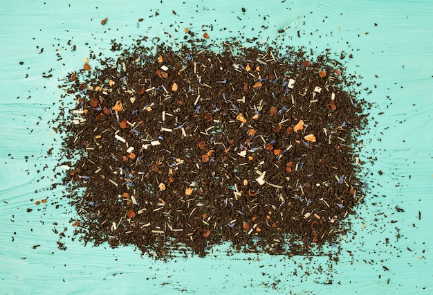 Flat lay composition of tea leaves