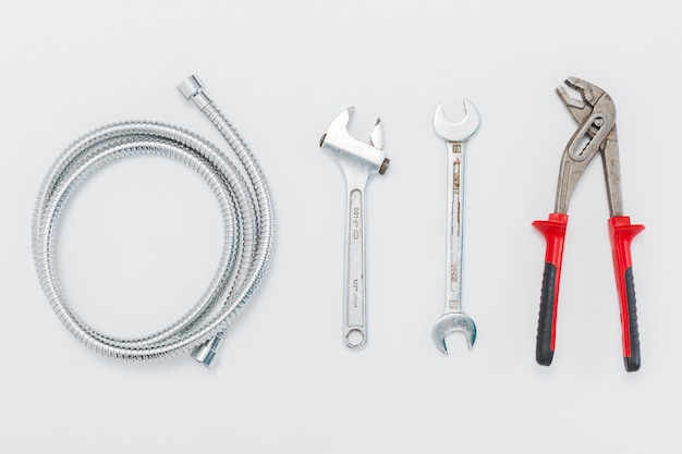 Flat lay composition of tools