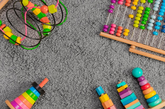 Flat lay composition of toys