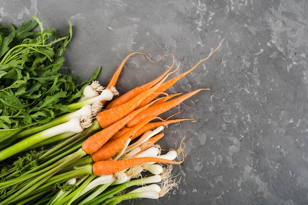 Flat lay composition of vegetables with copyspace