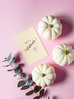 Flat lay composition of white pumpkins, eucalyptus branches and motivational wishes on  pink background