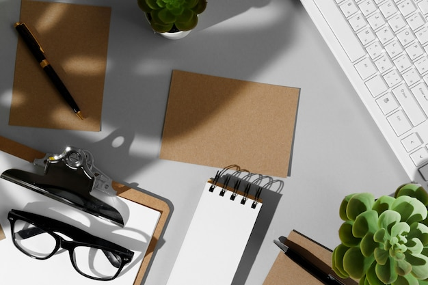 Flat lay composition with blank stationery mock-up