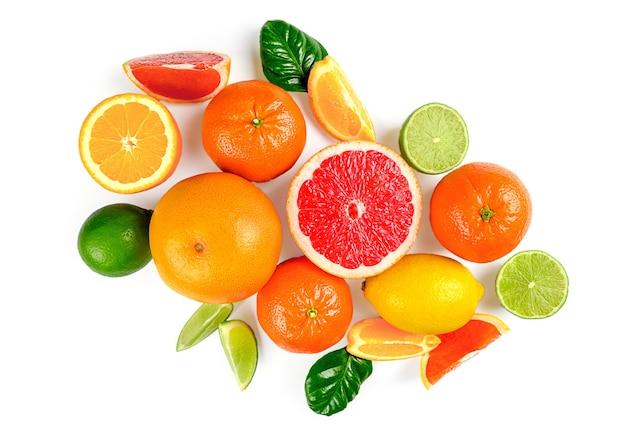 白い背景に柑橘系の果物、葉、花とフラットレイ構成。