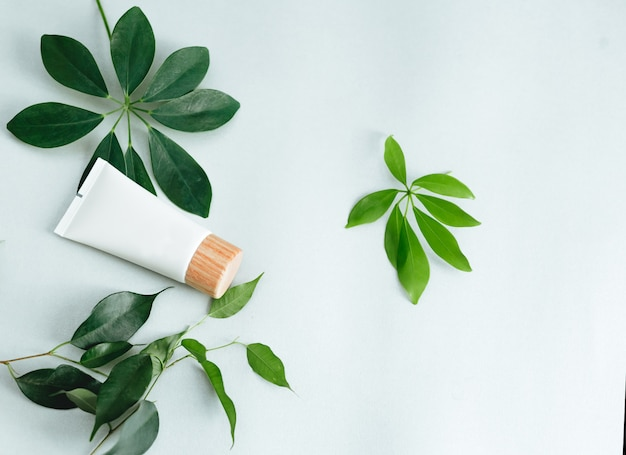 化粧品とフラットレイアウト構成。天然化粧品と緑の葉