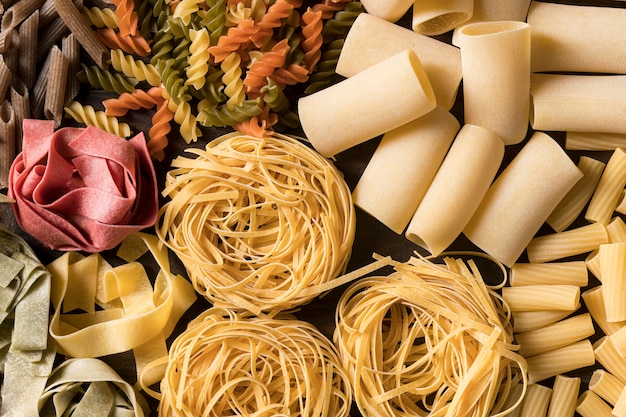 Flat lay composition with different pasta