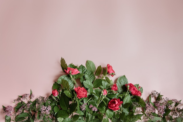 Flat lay composition with fresh flowers on pink background.