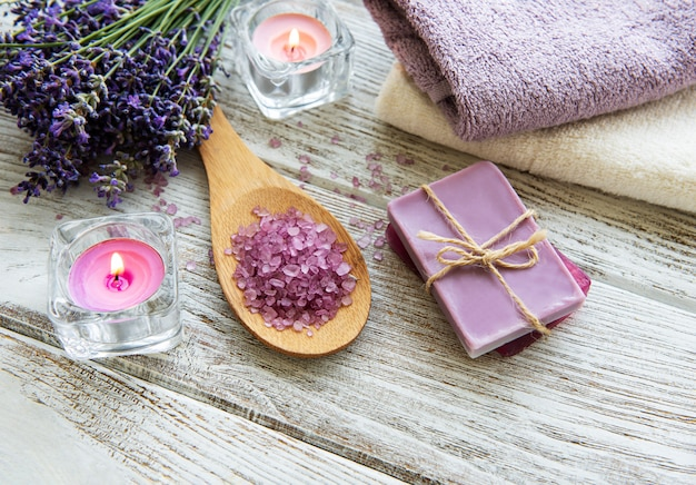 Flat lay composition with lavender flowers and natural cosmetic