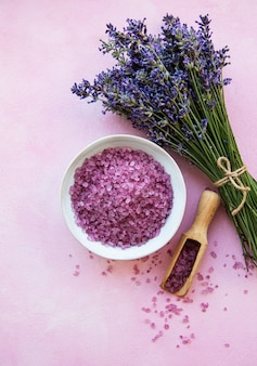 Flat lay composition with lavender flowers and natural sea salt