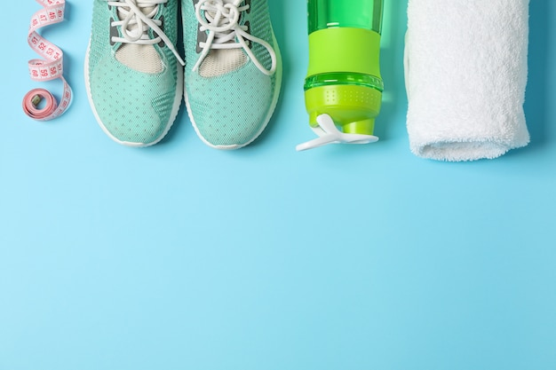 Flat lay composition with loss weigh accessories on color background
